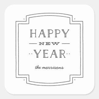 Deco New Year Sticker - White