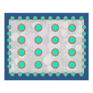 Deco PERFECTION - SkyBlue Gold Circle Displays Posters
