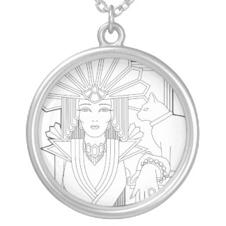 Deco Priestess Silver Plated Necklace