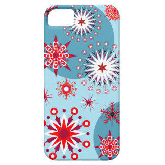Deco red/white snowflakes on a blue background iPhone SE/5/5s case