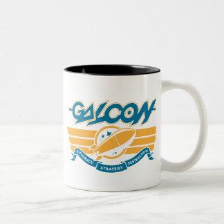 deco_rocket_gold taza de café de dos colores