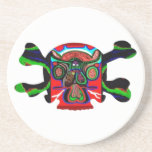 Deco Skull - Bull Alien and Colorful Graphics Drink Coasters