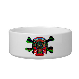 Deco Skull - Bull Alien and Colorful Graphics Pet Water Bowls