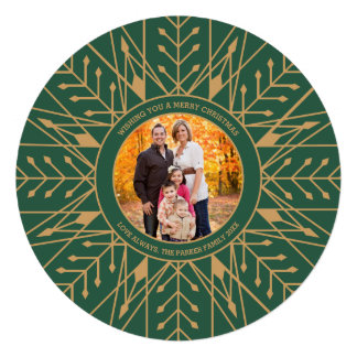 Deco Snowflake Christmas Photo Card Personalized Announcement
