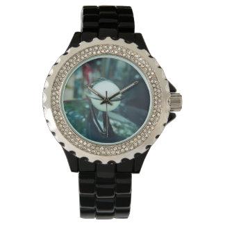 Deco Streamlining Rhinestone Black Enamel Watch