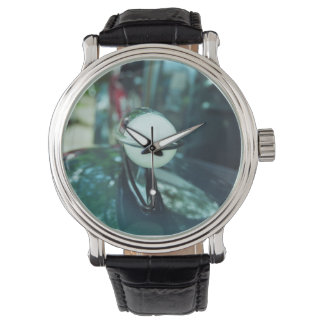 Deco Streamlining Watch with Black Leather Strap