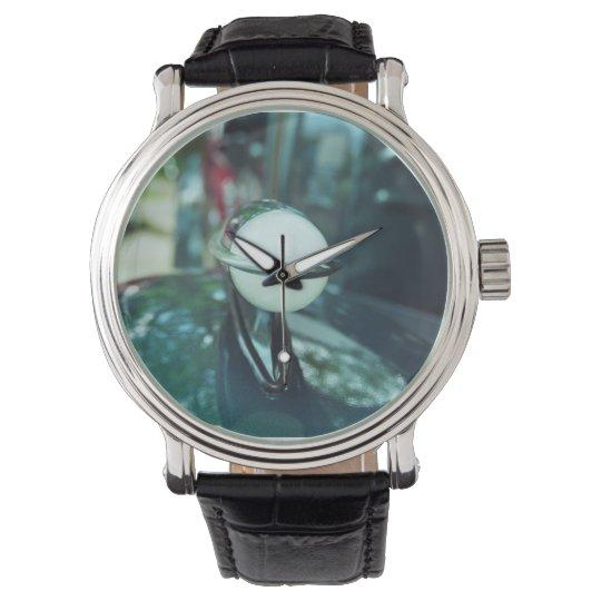 Deco Streamlining Watch with Black Leather Strap