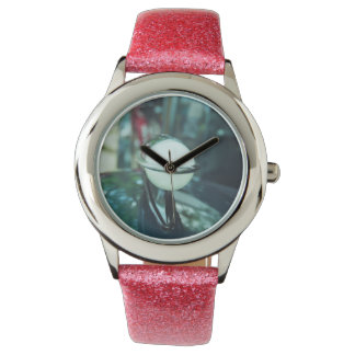 Deco Streamlining Watch with Pink Glitter Strap