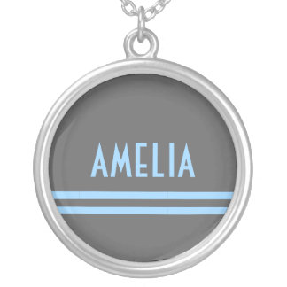 Deco Stripes Name Monogram Gray Blue Silver Plated Necklace