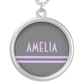 Deco Stripes Name Monogram Gray Lavender Silver Plated Necklace