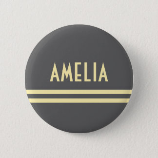 Deco Stripes Name Monogram Gray Yellow Button