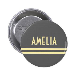 Deco Stripes Name Monogram Gray Yellow Button