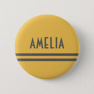 Deco Stripes Name Monogram Gray Yellow Gold Pinback Button