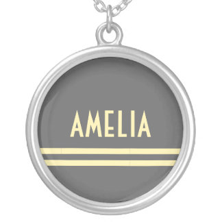 Deco Stripes Name Monogram Gray Yellow Silver Plated Necklace