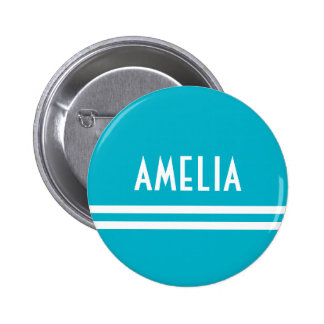 Deco Stripes Name Monogram White Bright Blue Pinback Button