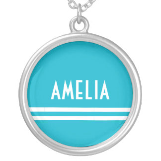 Deco Stripes Name Monogram White Bright Blue Silver Plated Necklace