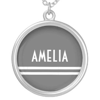 Deco Stripes Name Monogram White Gray Silver Plated Necklace