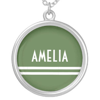 Deco Stripes Name Monogram White Soft Green Silver Plated Necklace