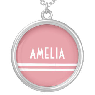 Deco Stripes Name Monogram White Soft Pink Silver Plated Necklace