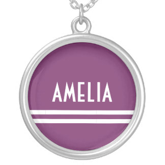 Deco Stripes Name Monogram White Soft Purple Silver Plated Necklace