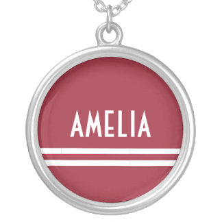 Deco Stripes Name Monogram White Soft Red Silver Plated Necklace