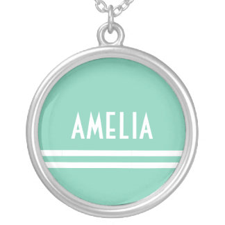 Deco Stripes Name Monogram White Soft Teal Silver Plated Necklace