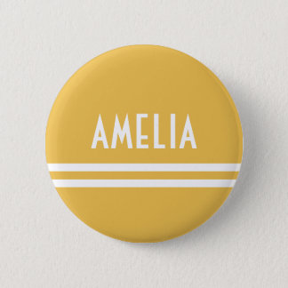 Deco Stripes Name Monogram White Yellow Gold Pinback Button