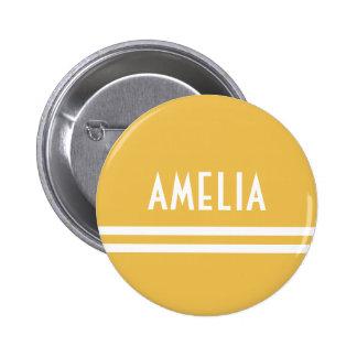 Deco Stripes Name Monogram White Yellow Gold Pinback Button