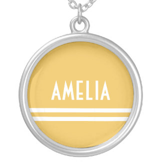 Deco Stripes Name Monogram White Yellow Gold Silver Plated Necklace