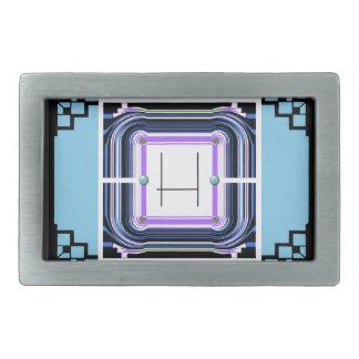 deco style blue frame monogram belt buckle