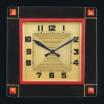 """Deco Style Square Wall Clock<br><div class=""""desc"""">One for the the art deco enthusiast. Size 10.75&quot; x 10.75&quot;. Material: Grade-A acrylic</div>"""