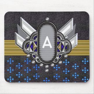 deco winged monogram medallion mouse pad