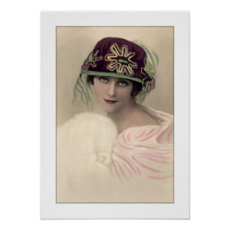 deco woman hat and stole cape poster