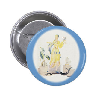 Deco Woman in Yellow Dress Pins