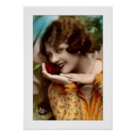 deco woman with lovely rose, pearls, flirty poster