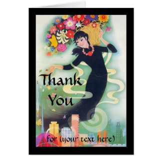 Deco Woman with Swirls & Flowers Thank You Custom Stationery Note Card