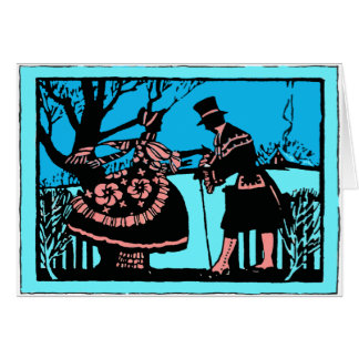 Deco Woodcut-Style 1920's Valentine Hand-Kiss Card