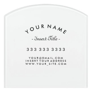 Decor Black and White Curved Text Business Door Sign