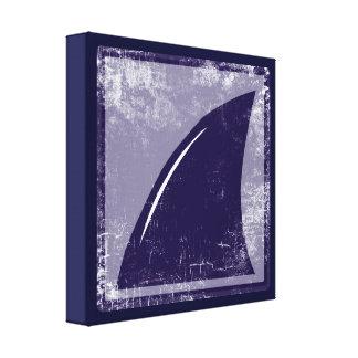 decor blue shark fin stretched canvas prints
