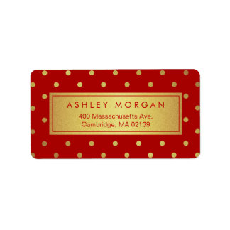 Decor Christmas Red with Glitter Gold Polka Dots Label