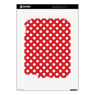 """Decor """"classic red with white polka dots."""" skins for iPad 2"""