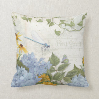 Decor French Farmhouse Vintage Floral Dragonfly Throw Pillow