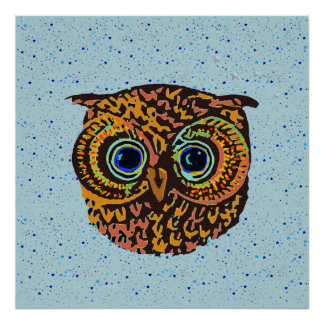 decor owl and stars poster