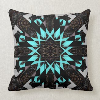 Decor Pillow Black Turquoise Aqua Bold Modern