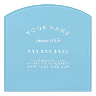 Lawyer Themed Decor Sky Blue and White Curved Text Business Door Sign