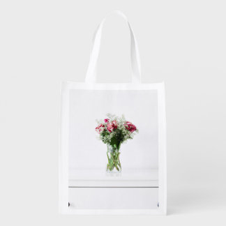 Decor Themed, Modern White Furniture Table With A Market Totes