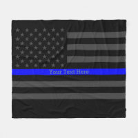 Decor Thin Blue Line Personalized Black US Flag Fleece Blanket