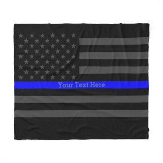 Decor Thin Blue Line Personalized Black US Flag Fleece Blanket