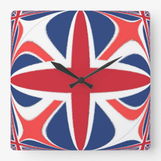 Decoraative Union Jack Square Wall Clock