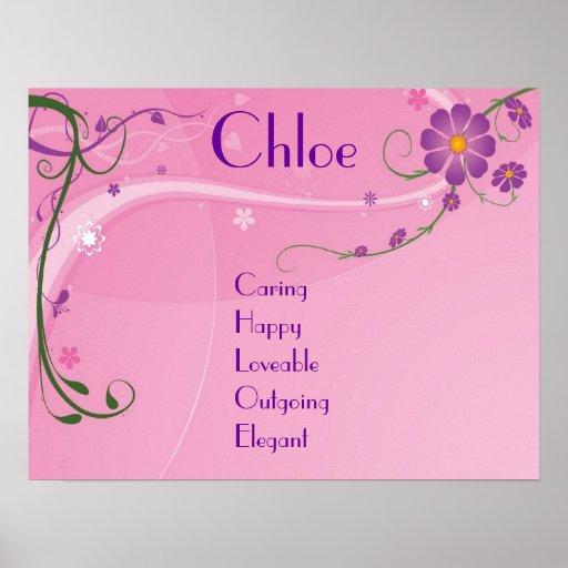 Decoración adolescente floral púrpura rosada del p póster